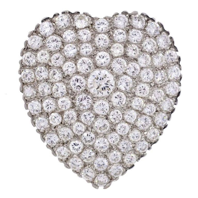 Pave Set Diamond Heart Pin Pendant
