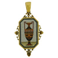 Victorian Large Micro Mosaic Gold Urn Pin/Pendant