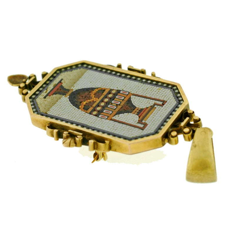 Women's Victorian Large Micro Mosaic Gold Urn Pin/Pendant For Sale