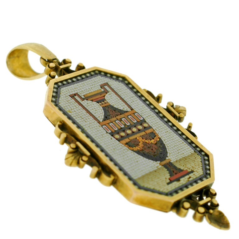 Victorian Large Micro Mosaic Gold Urn Pin/Pendant For Sale 1