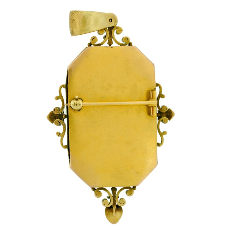 Victorian Large Micro Mosaic Gold Urn Pin/Pendant For Sale 2