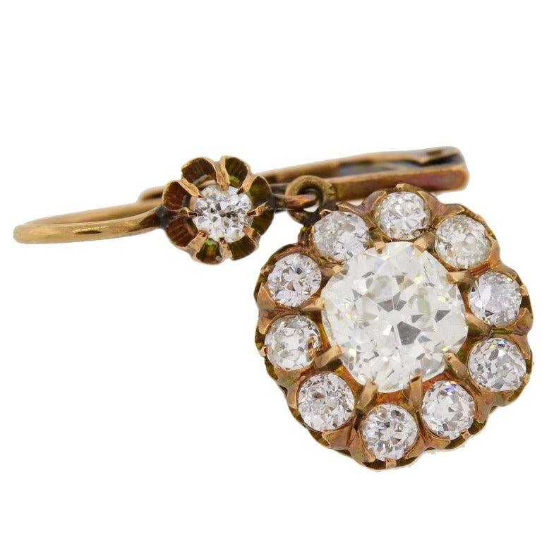 Victorian Diamond Gold Cluster Dangle Earrings In Excellent Condition For Sale In Narberth, PA