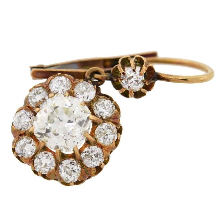 Victorian Diamond Gold Cluster Dangle Earrings For Sale 1
