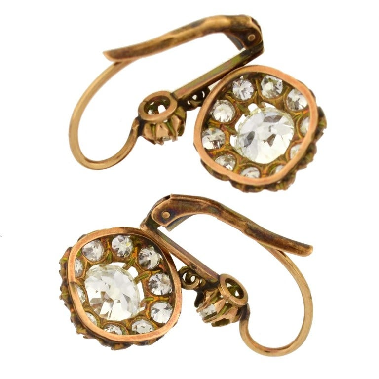 Victorian Diamond Gold Cluster Dangle Earrings For Sale 2