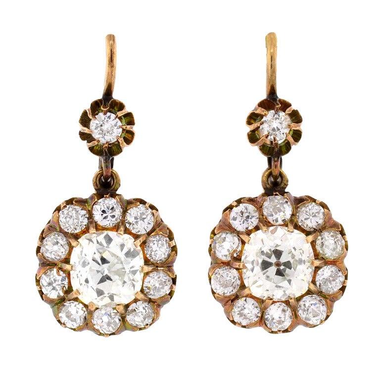 Victorian Diamond Gold Cluster Dangle Earrings For Sale