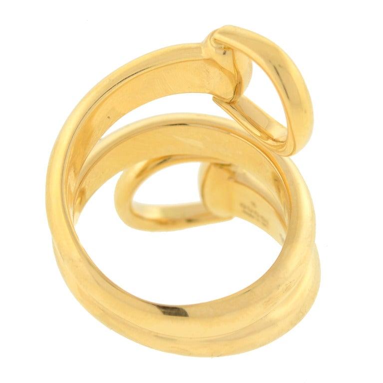 f58b0e42b0c Women s Gucci Contemporary Wrap Around Gold Horsebit Contraire Ring For Sale