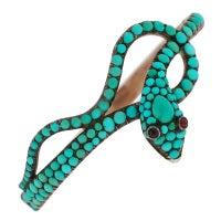 Victorian Turquoise & Garnet Sterling Topped Gold Snake Bracelet