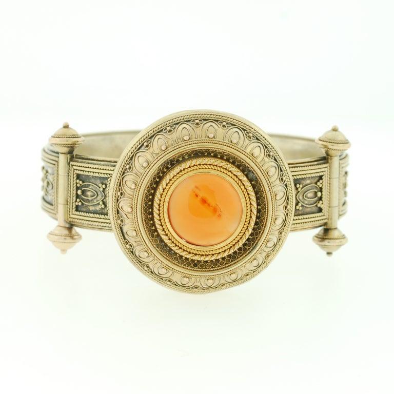 Victorian Etruscan Wirework & Carnelian Gold Bracelet 2