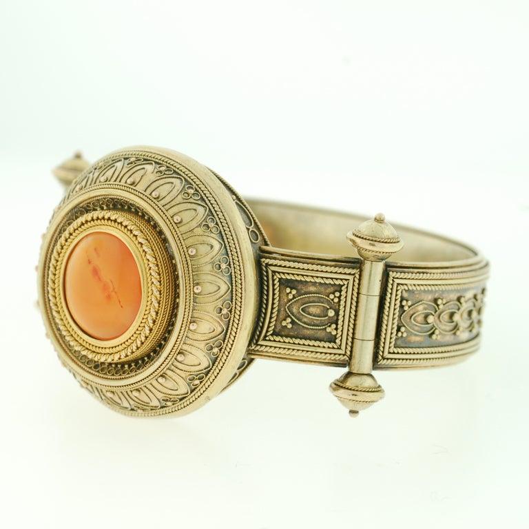 Victorian Etruscan Wirework & Carnelian Gold Bracelet 3