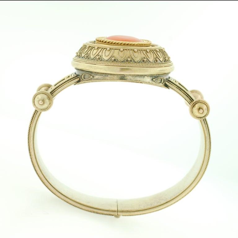 Victorian Etruscan Wirework & Carnelian Gold Bracelet 4