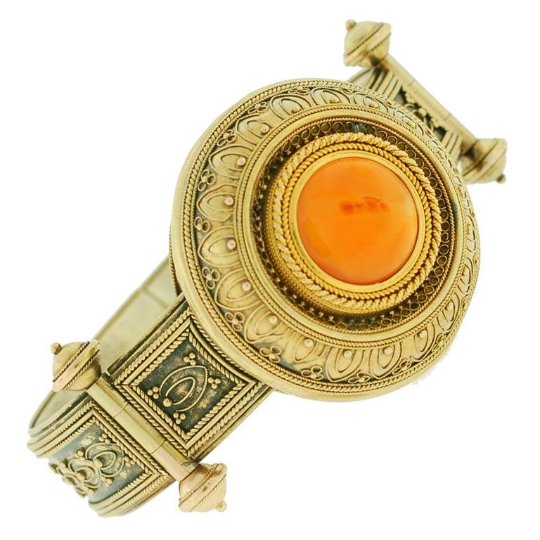 Victorian Etruscan Wirework & Carnelian Gold Bracelet 1