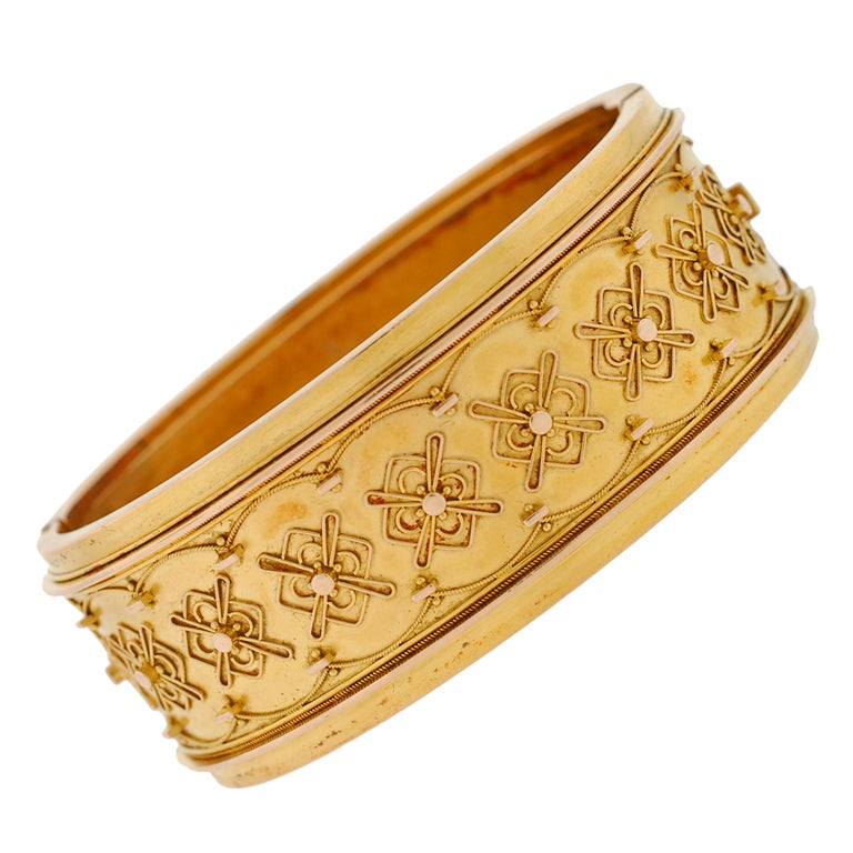 Victorian Gold Etruscan Hinged Bangle Bracelet