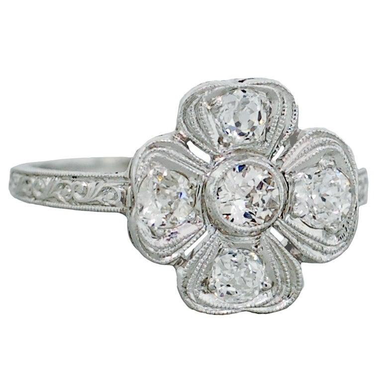 Art Deco Diamond And Platinum Four Leaf Clover Ring 1