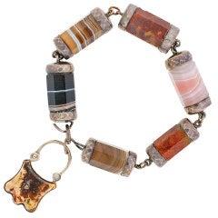 Victorian Sterling Scottish Agate Bracelet w/Padlock