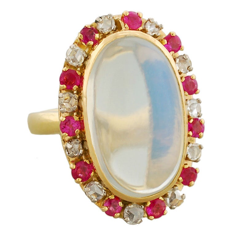 victorian striking moonstone diamond and ruby gold ring
