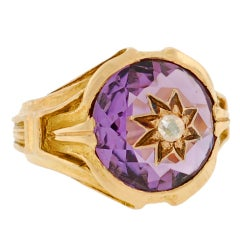 TIFFANY & CO. Victorian Faceted Amethyst & Diamond Gold Ring