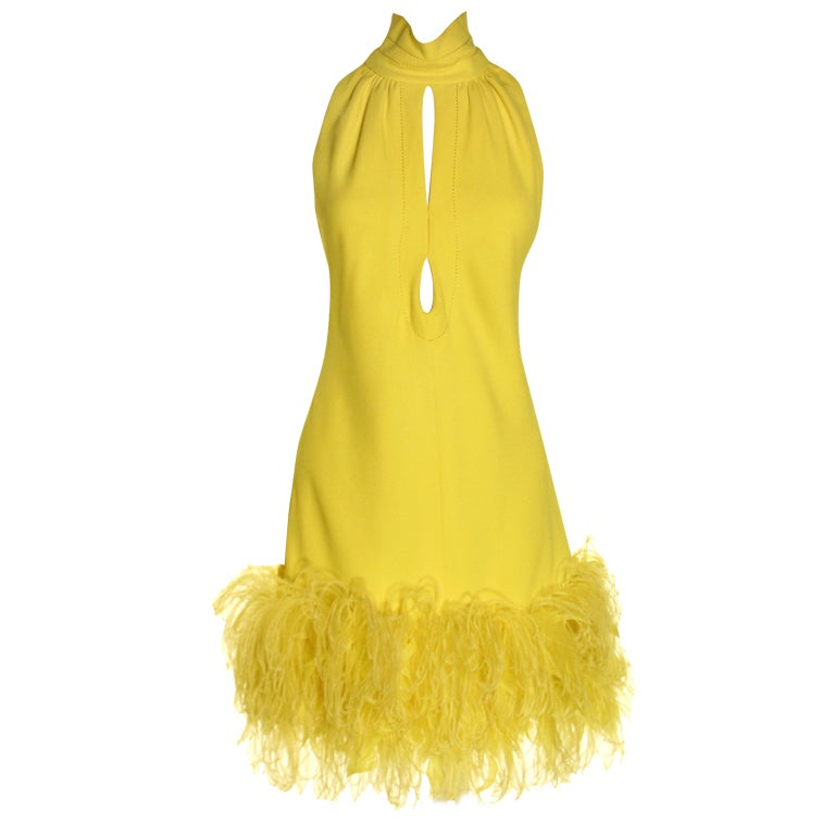 1960s Yellow Feather Dress at 1stdibs