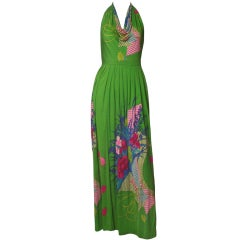1970's Bolhan Printed Silk Halter Dress