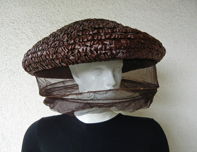 """Rare Adrian Custom  crownless brown circular polished straw hat with chunky three (3) dimensional plaiting, in concept a la Bee Keeper complete with layered, wired protective netting.  Size: 17""""  Condition: excellent; very wearable and"""