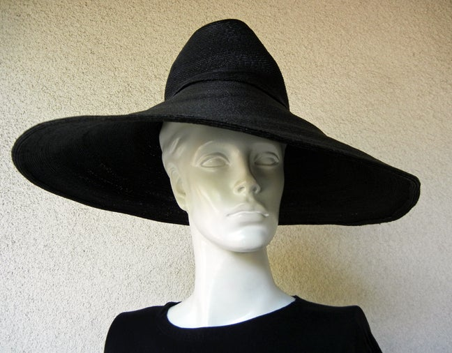 Black Adrian Horse Hair Hat with Inverted Saucer Stovepipe Crown  Rare! For Sale