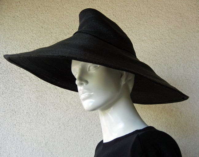 Adrian Horse Hair Hat with Inverted Saucer Stovepipe Crown  Rare! In Excellent Condition For Sale In Los Angeles, CA