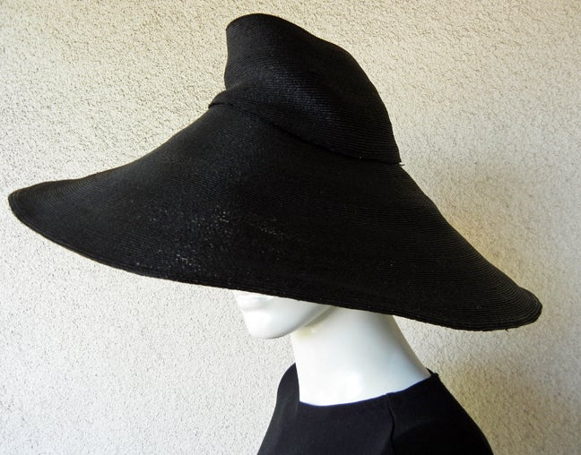 Women's Adrian Horse Hair Hat with Inverted Saucer Stovepipe Crown  Rare! For Sale