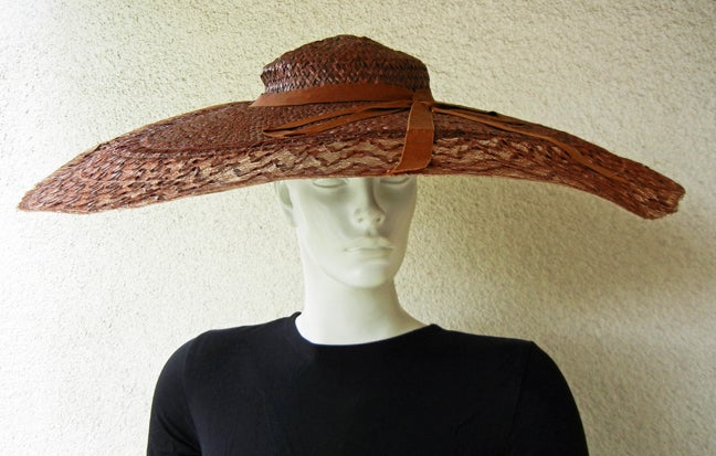 Brown Adrian Romantic & Dramatic Custom Pinwheel Hat For Sale