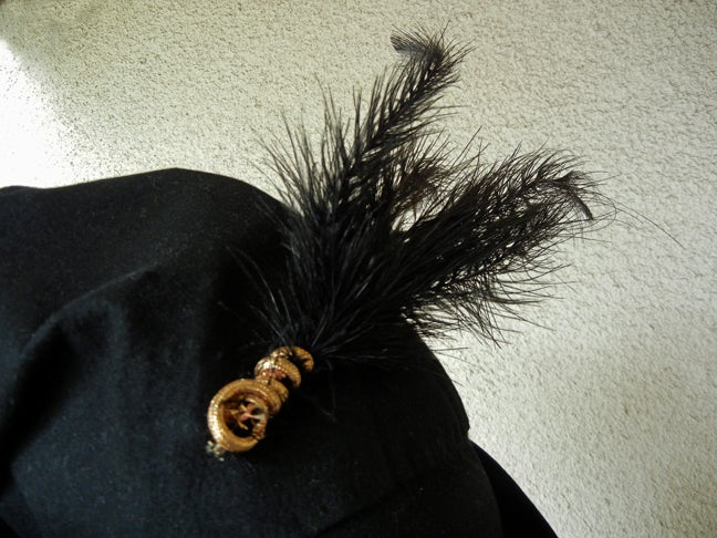 Black Adrian Custom Couture Exceptional Robin Hood Hat with Feather For Sale