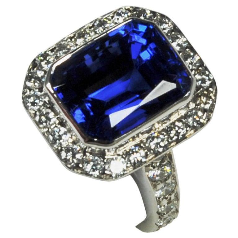 Exclusive Large Gem Color Tanzanite Ring at 1stdibs