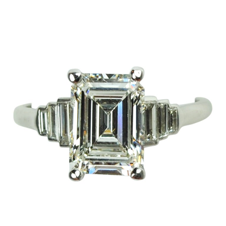 2 67 Carat Emerald Cut Art Deco Engagement Ring at 1stdibs