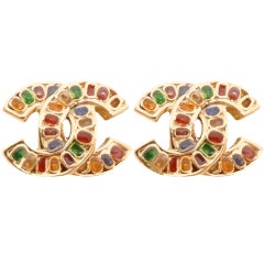 Vintage Signed Chanel 05P Multi-Color Rhinestone Earrings thumbnail 1