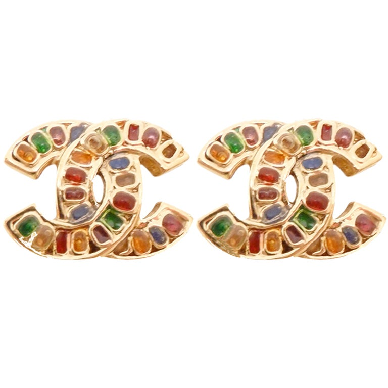 Vintage Signed Chanel 05P Multi-Color Rhinestone Earrings For Sale