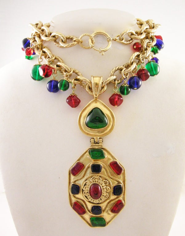 Vintage Runway Chanel  94 Gripoix Glass Medallion Necklace image 2