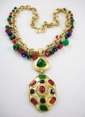 Vintage Runway Chanel  94 Gripoix Glass Medallion Necklace thumbnail 3
