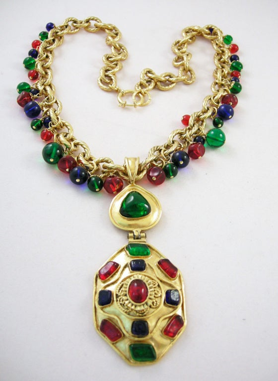 Vintage Runway Chanel  94 Gripoix Glass Medallion Necklace image 3