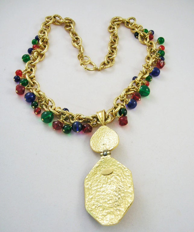 Vintage Runway Chanel  94 Gripoix Glass Medallion Necklace image 4