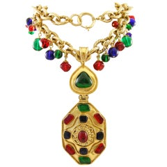Vintage Runway Chanel  94 Gripoix Glass Medallion Necklace thumbnail 1