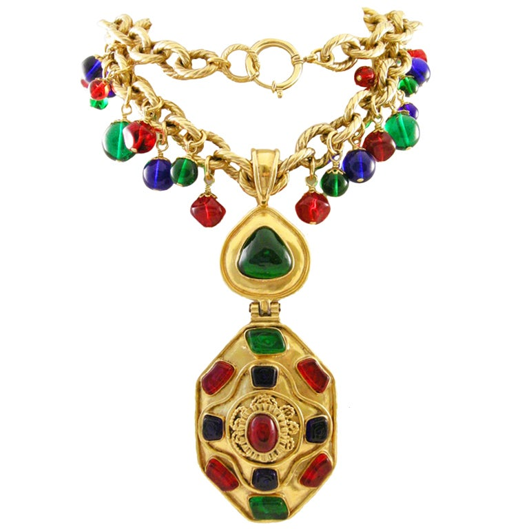 Vintage Runway Chanel  94 Gripoix Glass Medallion Necklace