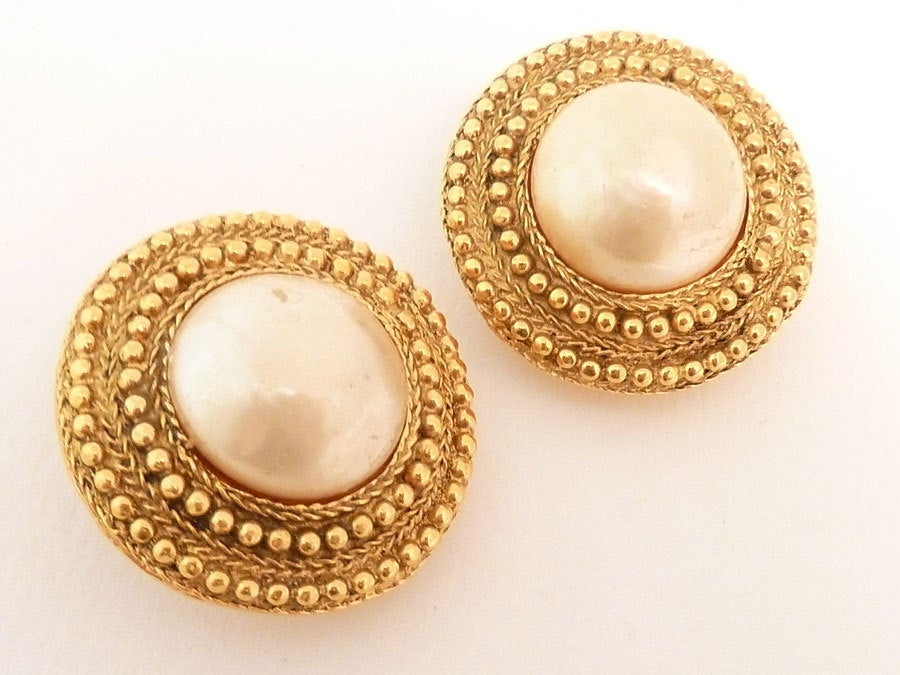 Vintage Signed Chanel Faux Pearl Earrings 3