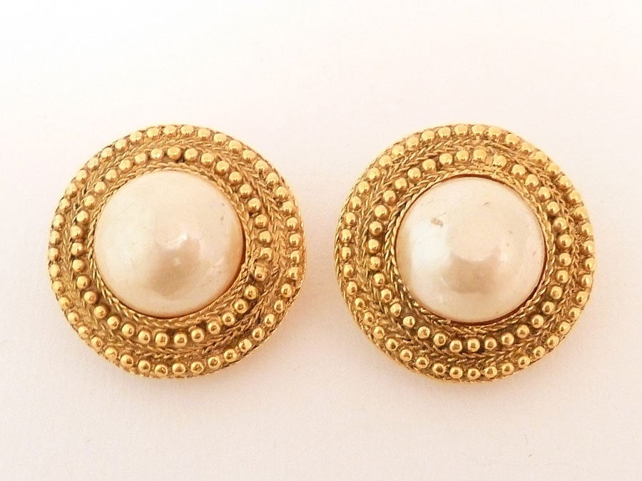 Vintage Signed Chanel Faux Pearl Earrings 2