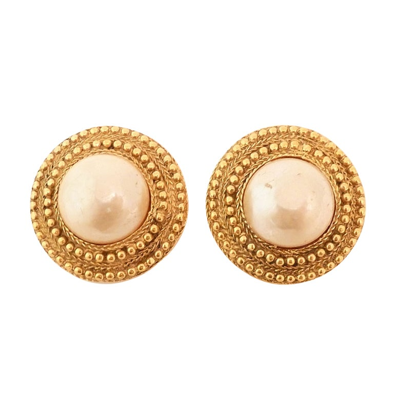 Vintage Signed Chanel Faux Pearl Earrings 1
