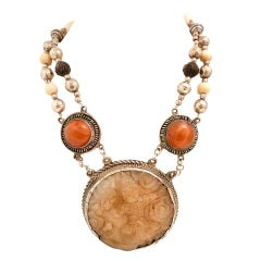 Vintage Carved Jade, Agate & Amber Pendant Necklace