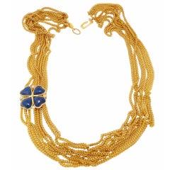 Vintage Signed Chanel Gripoix Glass Clover Multi-Strand Slide Necklace