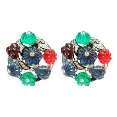 Kenneth J. Lane Fruit Salad & Rhinestone Earrings