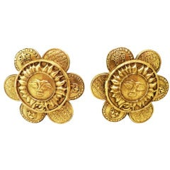 "Chanel 28 Vintage Signed ""Sunflower"" Earrings"