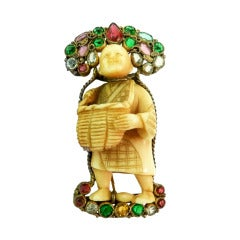 Vintage Museum Collectible Signed Hobe Asian Theme Figural Pin