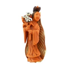 Vintage Signed Hobe 1965 Asian Theme Figural Pin