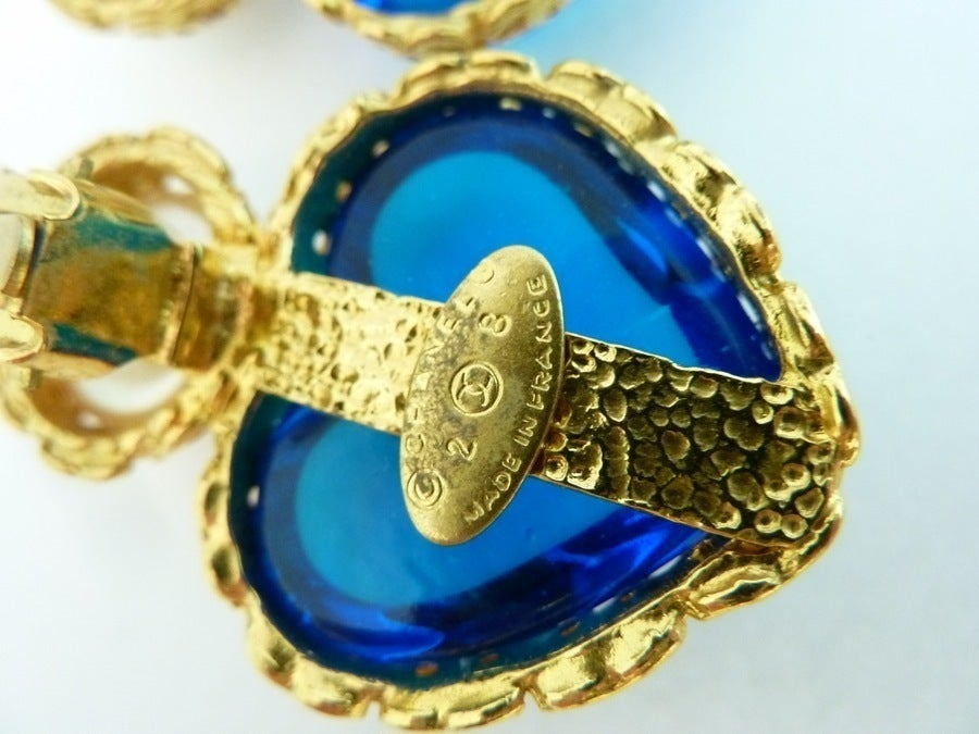 Vintage Chanel 28 Gripoix Glass Heart Earrings For Sale 1