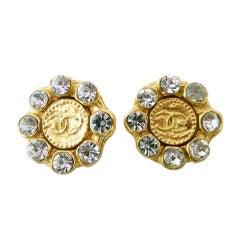 Vintage Signed Chanel Rhinestone Logo Earrings