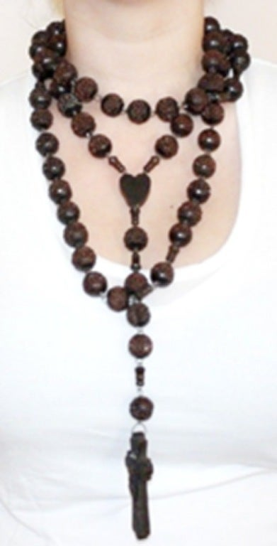 Vintage Signed Souvenir de St. Anne De Beaupre Carved Wood Rosary Necklace 4